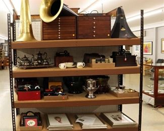 Edison phonograph horns, silver plate, thread cabinets, lithos & miniatures