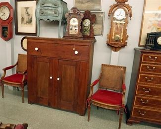 French Directorie Style Armchairs, Pine Jelly Cupboard