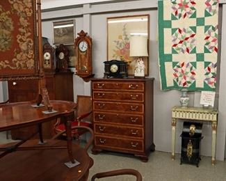 Chest, Italian Console, Clocks, Embroidery, French Chairs