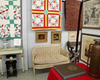 Quilts, 1930s French Settee, Oil Paintings, Coal Hood