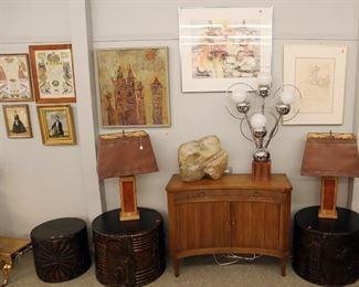 Baker Cabinet, Abstract Sculpture, Sputnik Lamp, Adrian Pearsall Brutalist drum tables, 19th c Frakturs, Mid Mod lamps & art
