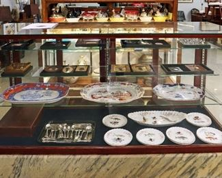 Gaudy Ironstone, Sterling silver spoons, Miniature 19th c Portraits and Silhouettes