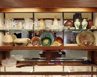 Period cut glass, Raymor & Mid Century Studio pottery,  Enamel Besvano