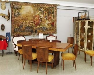 Art Deco Burl Walnut Dining set, Tapestry, Chinese Cork Carving
