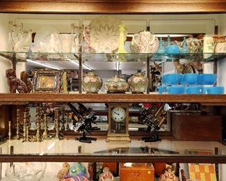 Limoges, Blue glass, Seth Thomas clock, brass microscopes, cloisonne, brass candlesticks Rockingham