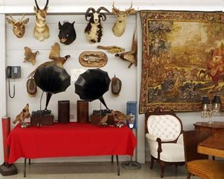 Taxidermy, Phonographs with horns, Tapestry, Victorian set