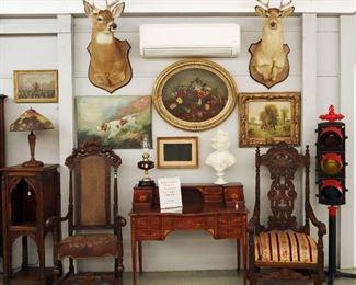Deer Mounts, Reverse Painted Lamp, Oil Paintings, Inlaid Desk, Oil lamps, marble bust, Stop Light