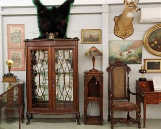 Bear Rug, Woodblocks, Gothic cabinet stand, Chippendale China Cabinet, Reverse Painted lamp
