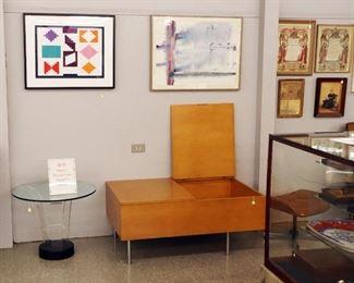Yaacov Agam Serigraph, George Nelson Blanket Storage Box, 19th c Frakturs, Mod Glass side table