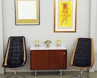 Two Bruno Mathsson Jetson Chairs, Florence Knoll Credenza, Vasarely & Neiman Lithos