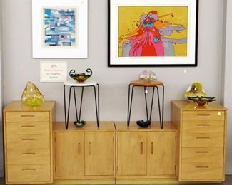 Wormley Chests, Knoll tables, Peter Max serigraph, art glass