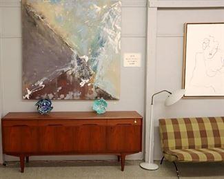 Aarseth Teak Buffet, Itatani Abstract, Art Glass,  Thurston Lamp, Milo Baughman settee