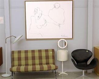 Mil Baughman settee, Mid Mod Vanity, Thurston Lamp Arne Jacobsen Chair, Itzchak Tarkay painting