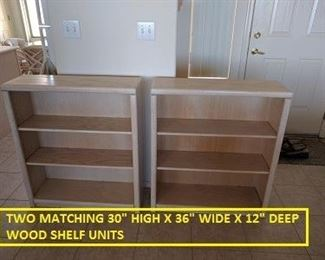 2 WOOD SHELF UNITS