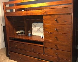All in One Loft Bed With Trundle and Storage