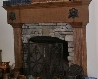 Vintage books & Law Library Volumes, copper cookware from Turkey and a free standing fireplace screen.