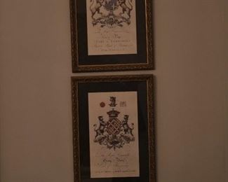 Heraldic prints of English aristocracy (decorative)