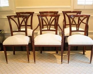 Baker Dining Chairs With Silk Cushions