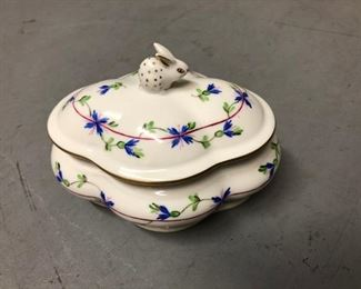 Herend Hungary Blue Garland Covered Candy / Trinket Dish