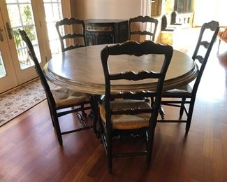 "58"" diameter round kitchen table and chairs"