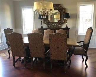 "Dining room table - 46""D x 88""W with (8) Linley Design chairs (2 not photographed) (3 chairs SOLD) and (2) captains chairs. Table opens on each end for a total of 12'"