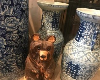 Pair of Blue and White Vases, Hand Carved Bear, Blue and White Umbrella Stand