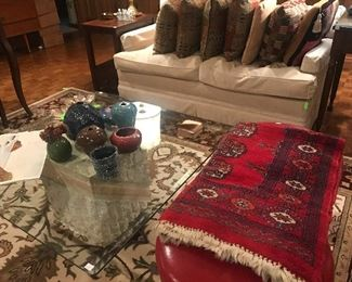 Pair of White Sofa's, Square Glass Top Coffee Table with Stone Base, Red Leather Stools