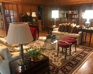 Living Room, Area Rug, Brass Table Lamps, Decoratives