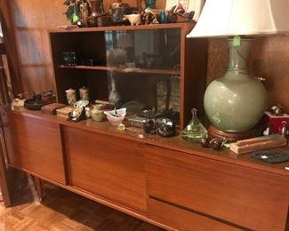 Mid- Century Buffet, Mid-Century Glass Cabinet