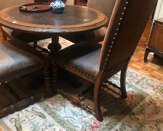 Area Rug, Leather Studded Chairs