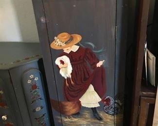 Vintage Farm Girl Cabinet  w/shelves