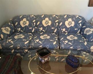 Blue Floral Sofa