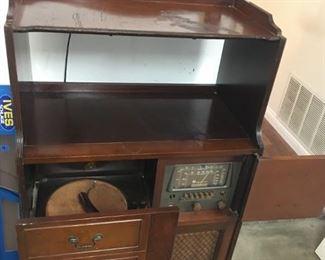 Inside Antique Cabinet w/ Radio & Turntable