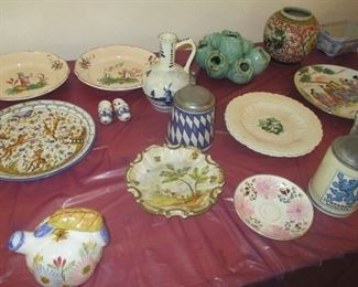 large collection of European stoneware pottery