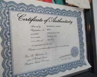 Certificate of authenticity for Jazz Club
