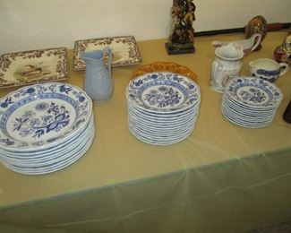 Nice GERMAN blue and white dishes-- looks like onion  pattern