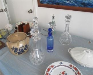 Lots of very nice crystal decanters