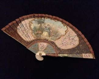 18th century Ivory fan. Intricate hand painting front and back. Museum quality piece.