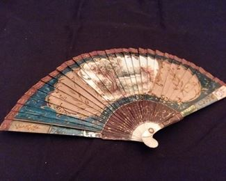 Back side photo from hand painted detail. 18th century Ivory fan