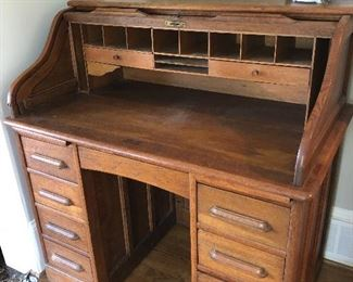 Smaller size antique  roll top  desk