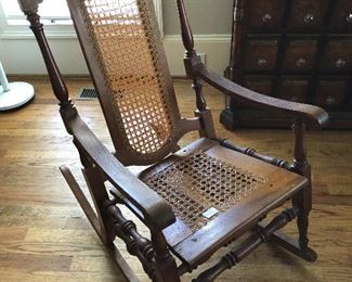 Antique Walnut - cane rocker
