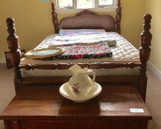 Antique bed with matching dressing table & gentleman's chest.  (Cedar chest at foot)