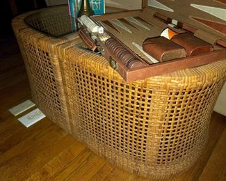 2 pc Rattan glass to coffee table - or could be 2 end tables