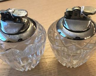Vintage crystal coffee table cigarette lighters