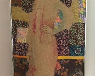 "Large framed 'quilt' lady by ""Fritts"""