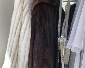 Full length brown mink coat and hip length White Fox