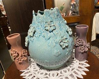 Applied flower vase