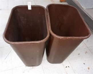 Two Plastic Trash Cans