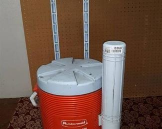 Round Drink Cooler with Cup Holder on Two Wheel Cart