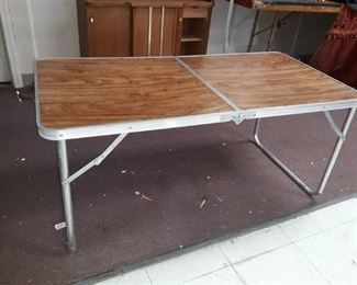 Folding Metal Wood Look Table
